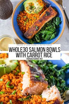 Salmon Bowls with Rainbow Chard, Carrot Rice, Avocado, and Wasabi Sauce - a nutritious flavorful dinner recipe that is paleo, low-carb and delicious! #paleo #lowcarb #keto #dinner #whole30 #healthy Paleo Dinner, Dinner Recipes, Wasabi Sauce, Sauteed Greens, Rainbow Chard, Amazing Recipes, Popular Recipes, Healthy Fats, Casserole Dishes