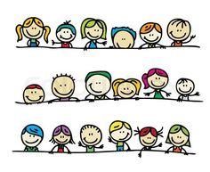 Vector of Doodles border of happy kids