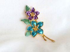 Enamel Flower Brooch Pin