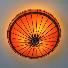 Antique Style Orange Ceiling Light Conical Shade Art Glass Flush Mount Light for Dining Table, Fashion Style Tiffany Lights Dining Room Lighting, Bedroom Lighting, Flush Mount Lighting, Fashion Lighting, Geometric Shapes, Orange, Light Bulb, Glass Art, Ceiling Lights
