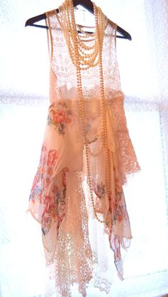 Shabby chic tunic, romantic bohemian gypsy tank top, lagenlook lace top. Boho  clothing, whimsical country chic tunic True rebel clothing