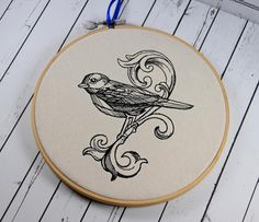 "Bird Scroll Hoop Art - Machine Embroidered art, framed in an 8"" bamboo hoop, and ready to hang."