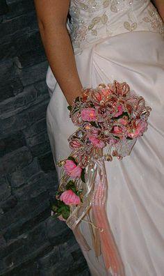 "Swarovski Crystal and Beaded Flowers Cascade Bridal Bouquet - ""ERIL"""