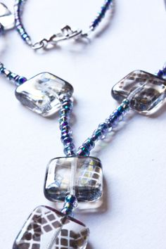Glass Squares Beaded Necklace Peacock Coloured by ImogenPhoenix, £12.00