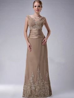 A-line V-neck Floor-length Chiffon Silk like Satin Mother of The Bride Dress - US$144.99