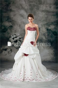 Pear A-Line Sweetheart Summer Court Train Wedding Dresses with Color