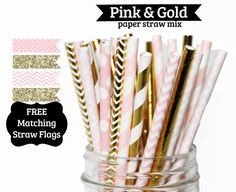 Pink Gold Paper Straws girls first birthday PAPER by PartyDelights #girlsfirstbirthday