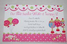 Lollipop candy Sweet Shoppe birthday invitation