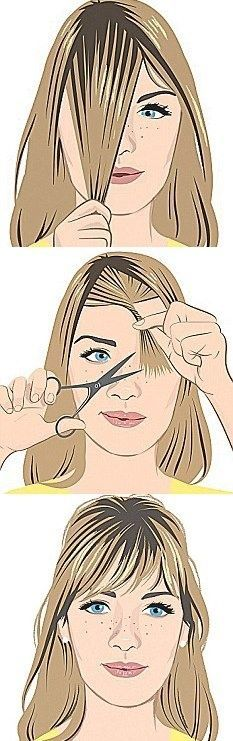 Great info for everyone :) Click here to see 5 DIY bang cutting tutorials that will make messing up your hair impossible! Trim Bangs, Cut Hair Diy, Cut Hair At Home, Diy Hair Trim, Cut Own Hair, How To Dye Hair At Home, How To Trim Hair, Trim Your Own Hair, How To Braid Your Own Hair Short