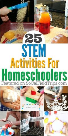 25 Creative STEM Projects For Homeschoolers Are you a homeschool parent? Check out these 25 science projects for homeschoolers that are easy to do at home with limited supplies. Not only are these STEM activities great for homeschoolers, but they are als Science Lessons, Science For Kids, Activities For Kids, Science Experiments, Preschool Ideas, Science Fun, Stem Activities For Kindergarten, Science News, Elementary Science