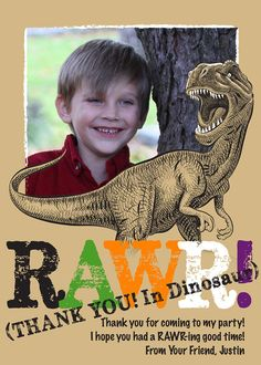 Scary Dinosaur Personalized Birthday Party Thank You Cards