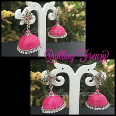 Pink and silver jhumka with white stone chain.. #quillingfrenzy #paperquilling…