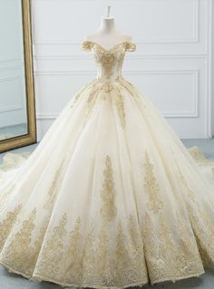 Glamorous Champagne Tulle Lace Appliques Off The Shoulder Wedding Dress Source by dresses champagne Western Wedding Dresses, Princess Wedding Dresses, Bridal Dresses, Beauty And The Beast Wedding Dresses, Quince Dresses, Ball Dresses, Ball Gowns, Sheath Wedding Gown, Backless Wedding