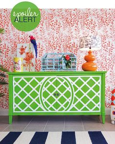 Gorgeous and bright interior designed by Touch Interiors. Featured in Adore Home magazine. Love that green and white buffet!