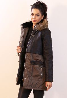 Alpha Combination Nylon Parka with Leather Look Body in Khaki & Black