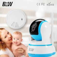 BW Security IP Camera Wi-Fi Surveillance Camera IP Wireless + Smoke Detector Onvif Network Baby Monitor Sensor Alarm