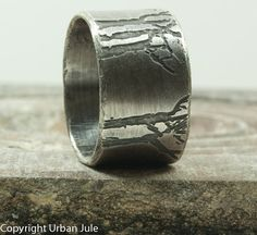 Mens Wedding Band Tree Ring Sterling Silver Ring Etched Trees Unisex Rustic Tree Ring Promise Ring for HIm Mens Single Band