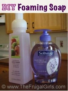 DIY Foaming Soap.  This really works. Makes soap last longer and softer on sensitive hands