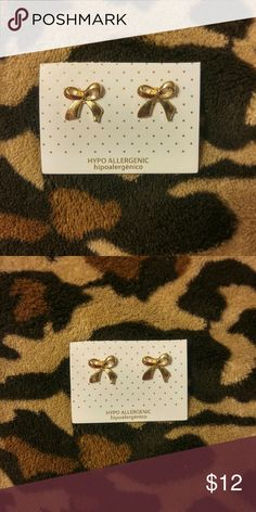 Jewelry | MINI GOLD BOW STUD EARRINGS NWT Brand new in original packaging // Dainty small dime size mini gold plated bow studs // post backing // nickel & lead free// Bundle & save! // 1 left! Jewelry Earrings