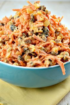 Yummy Carrot Salad Loaded with Pineapple, Carrots and pecans! The raisins should be sweet enough, so no sugar needed.