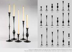 The Egg and Dart Candlestick Collection. I have admired this collection since the first time I saw it on display in the E.R. Butler Architectural Hardware Showroom in Soho, New York.  Ted Muehling - Objects.  http://www.tedmuehling.com