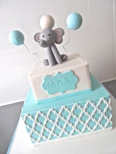 Name Day Cake with gum paste elephant featuring moroccan lattice by Finesse Cakes by Ingrid, Melbourne.