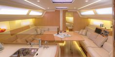 Azuree 46 is distinctive in design incorporating many recognizable advantages within her deck and interior layout. Her salon has the huge U-shaped dinette to port that will seat five. With the table unfolded you can add three more crew to the dinner list for a total of eight. The dinette table can be lowered to transform the dinette into a large double berth.  See more of her here: http://www.saltsailing.com/azuree-yachts-azuree-46-salon/