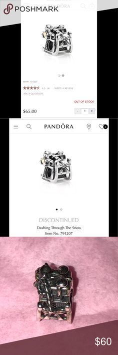 """Rare pandora charm, dashing through the snow Discontinued pandora charm! """"Dashing through the snow.""""  Two toned sleigh silver charm with 14k heart! Great condition, no flaws.  Just cleaned at the pandora store! Great Christmas present! Pandora Jewelry Bracelets"""