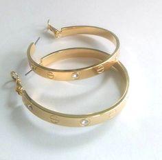 Ladies Genuine Swarovski Crystal & Yellow Gold Hoop Earrings by Krystal Couture  #KrystalCouture #Hoop