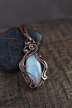Rainbow moonstone pendant Rustic Wedding jewelry  unique gift