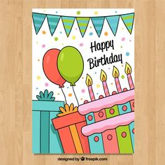 Tarjeta de feliz cumpleaños en estilo hecho a mano vector gratuito | Free Vector #Freepik #vector #freecumpleanos #freeinvitacion #freefeliz-cumpleanos #freefiesta Happy Birthday Drawings, Birthday Doodle, Birthday Card Drawing, Happy Birthday Posters, Happy Birthday Signs, Birthday Letters, Birthday Card Design, Art Birthday, Happy Birthday Cards Handmade