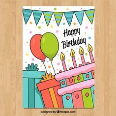 Happy Birthday Drawings, Birthday Doodle, Birthday Card Drawing, Happy Birthday Posters, Happy Birthday Signs, Birthday Letters, Birthday Card Design, Art Birthday, Happy Birthday Cards Handmade