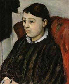 Madame Cézanne dans une robe à rayures - (Paul Cezanne)