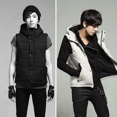 Korean Mens Fashion Slim Sleeveless Hooded Casual Warm Winter Vest