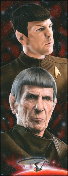 """Live long and prosper!"" Leonard Nimoy was Mr. Spock, a half-human, half-Vulcan enigma, on Star Trek Star Trek 2009, Star Trek Characters, Star Trek Movies, Star Trek Spock, Star Trek Tos, Star Trek Original, Star Trek Enterprise, Science Fiction, Johnny Depp"