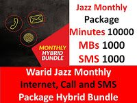 Warid Jazz Monthly Internet Call And Sms Package Hybrid Bundle Internet Packages Internet Call Sms