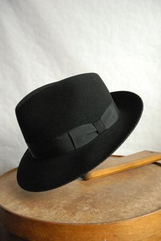 Vintage Italian Made Wool Fur Blend Black Fedora Hat UK 6 7/8 on Etsy, £24.99