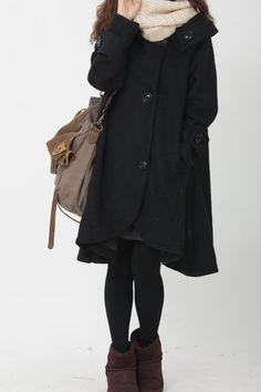 Black cloak wool coat Hooded Cape women Winter wool coat by MaLieb