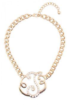 Rhinestone Studded J Initial Necklace
