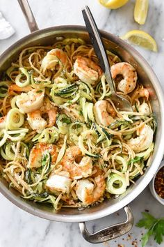 Linguine and Zucchini Noodles with Shrimp