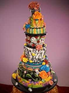 Merci Beaucoup - Day of the Dead wedding cake - funky and colorful fun