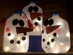 Milk jug snowmen.