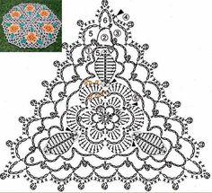 схема треугольного мотива салфетки с цветами крючком