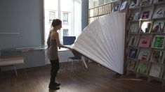 """This is """"Unpaper Collection Room divider"""" by Julie Conrad Design Studio on Vimeo, the home for high quality videos and the people who love them. Plywood Furniture, Modular Furniture, Bureau Design, Colour Blocking Interior, Shelter Design, Space Dividers, Divider Design, Interior And Exterior, Interior Design"""