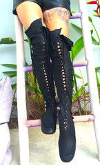 Black Over The Knee High Leather Boots