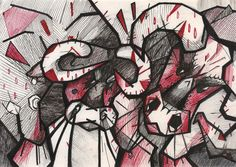 30. Wreck, Авария..Inktober 2016 by Nastya Sprut  There were used black and red pencils, futurism style and strong energetic of two angry bulls :0