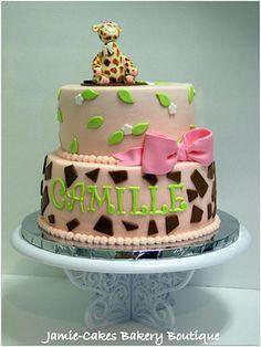 Gâteau shower de bébé - girafe /  Giraffe baby shower cake