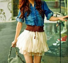 Beautiful Outfit With Skirt And Jeans Shirt click the picture to see more