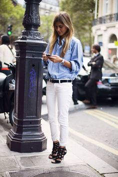 Denim boyfrind shirt, white trousers and heels