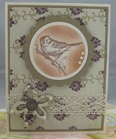 vintage bird birthday card